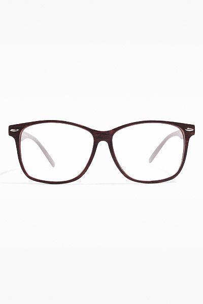 'Frederick' Thin Frame Clear Wayfarer Glasses - Wood Grain - 5482-1