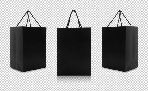 Download Set Of Black Paper Bags With Handles In 2020 Black Paper Paper Bag Brown Paper Bag