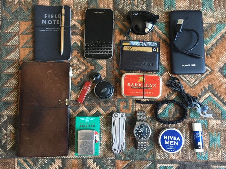 Daily use  submitted by coursek  Midori Travelers Notebook  Leatherman Wingman  IWC mark XVII  Field notes  Blackberry Classic  Ray-Ban Folding Wayfarer  Bose  Mini  Nivea Cream 30 Ml / 1 Fl Oz Travel Size  EDC 2017 summer