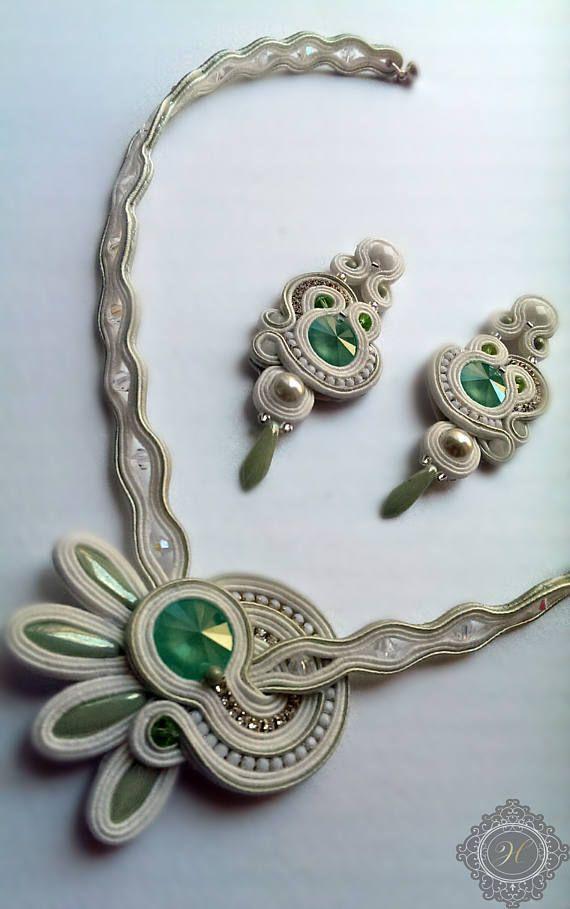 Handmade soutache jewerly set. Romantic jewerly. Wonderful