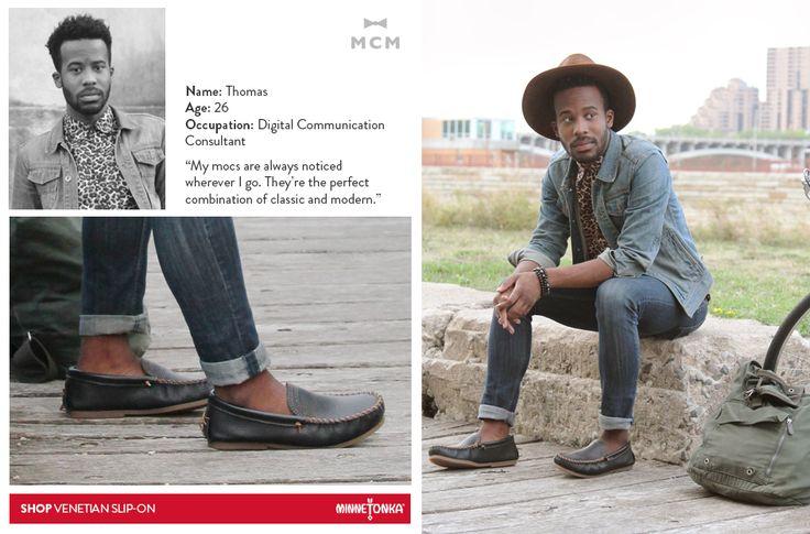 Minnetonka + Mill City Men: Thomas wearing his Venetian Slip-ons