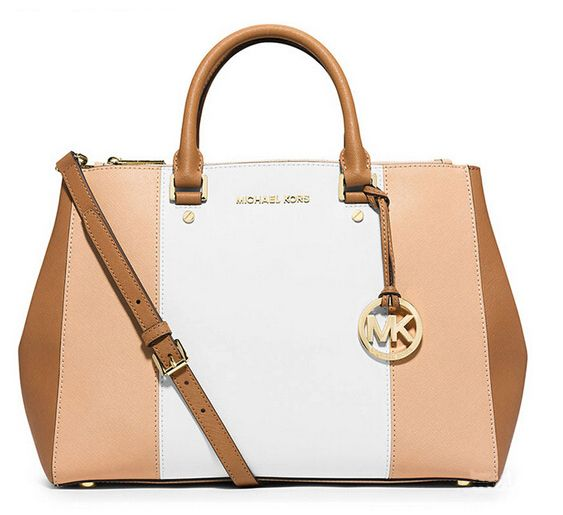 Michael Kors Large Color-Block Leather Satchel Pink And White An