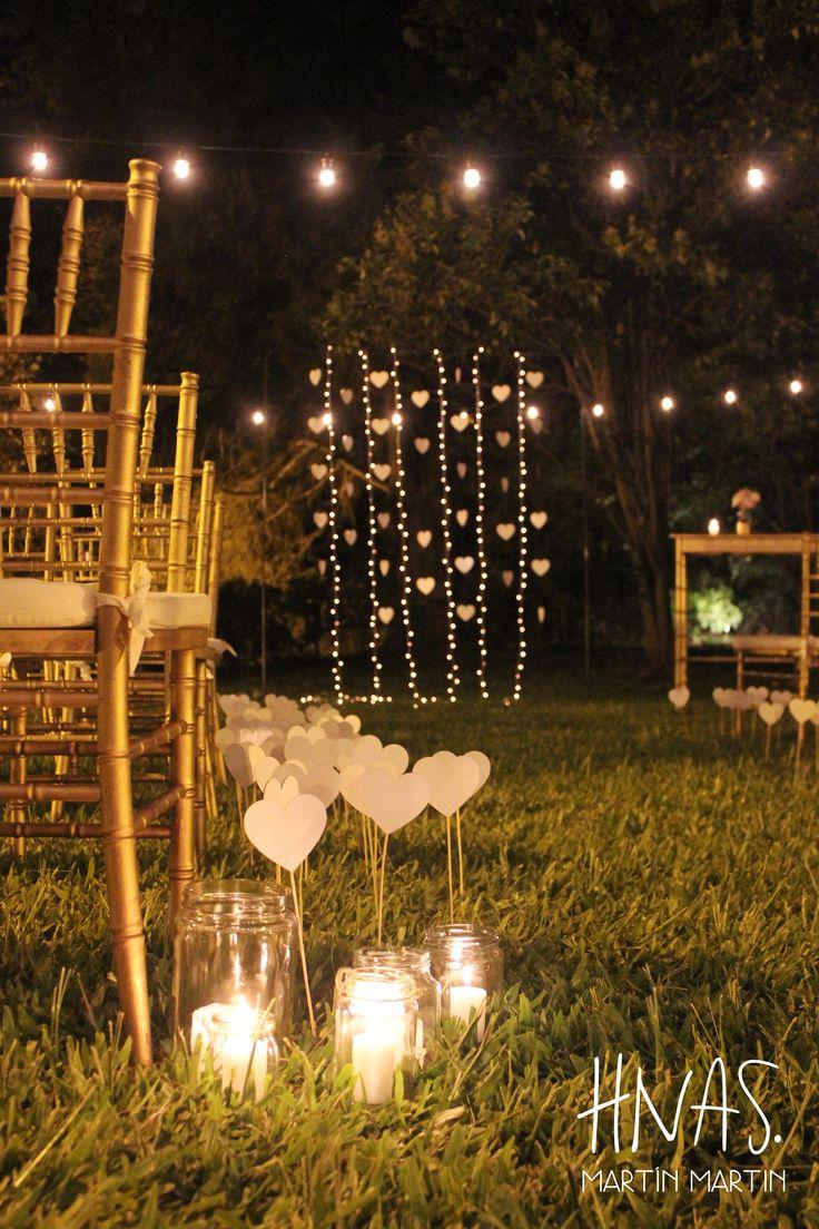 casamiento, boda, ambientación, wedding, decor, ceremonia, luces, corazones ceremony, light, herts, velas, candles, Quinta El Tata, ArPilar