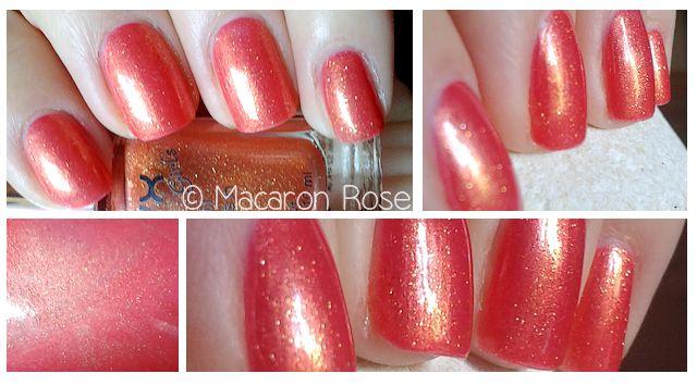 #nails #layers #glitter #coral #gold #nyx chick lit ; Florida Orange