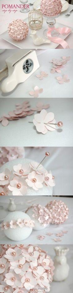 bola de flores de papel
