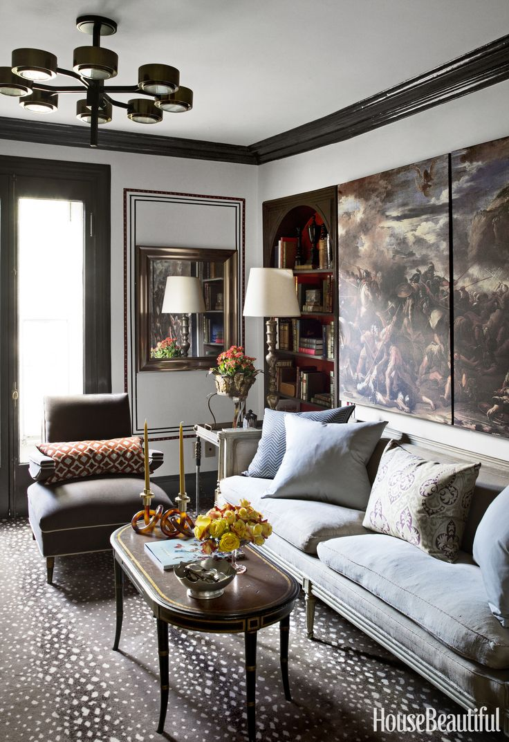 In A Living Room, Red Leather Nailhead Trimming Creates The Look Of Wall  Paneling.