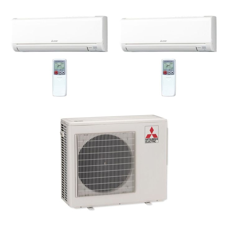 Mitsubishi MXZ2B20NA-2WS-01 - 18,000 BTU MR SLIM Dual-Zone Ductless Mini Split Air Conditioner Heat Pump 208-230V (6-9)