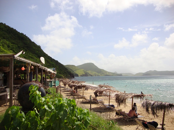 Shipwreck Beach, St. Kitts ~ one of our favorite beaches in the Caribbean...beautiful...the mountains come right down to the water... peg