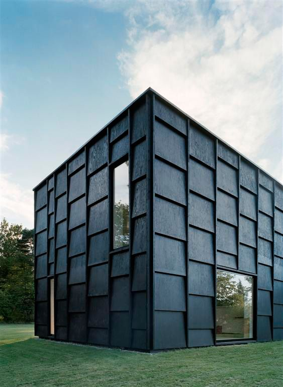 House K // Tham & Videgård Hansson Arkitekter - Facades are stained black 18 mm plywood panels (6/9/1200x900mm), mounted in layers on a slowly grown pine framework (50x150mm).