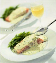 Grilled salmon steaks with dill mustard sauce. This is soooo yummy!