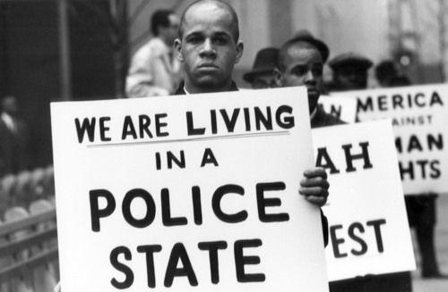 Black Muslim protest, Harlem, NYC, 1963, by Gordon Parks
