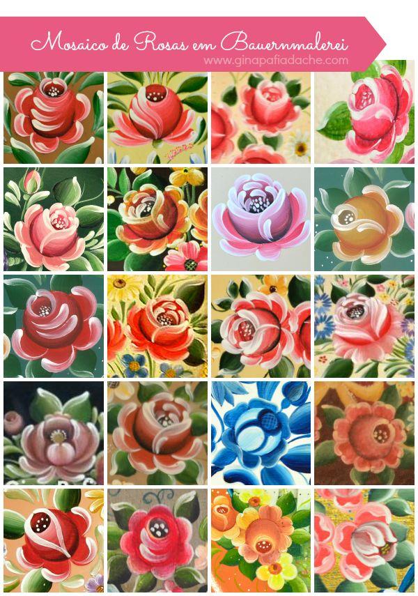 Atelier Gina Pafiadache: Mosaico de Rosas em Bauernmalerei