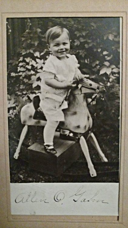 Vintage 1920s Photograph Child Riding Wood Rocking Horse Toy