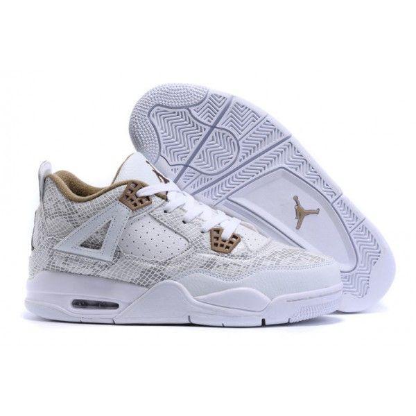authentic air jordan 4 mens retro basketball shoes snakeskin white