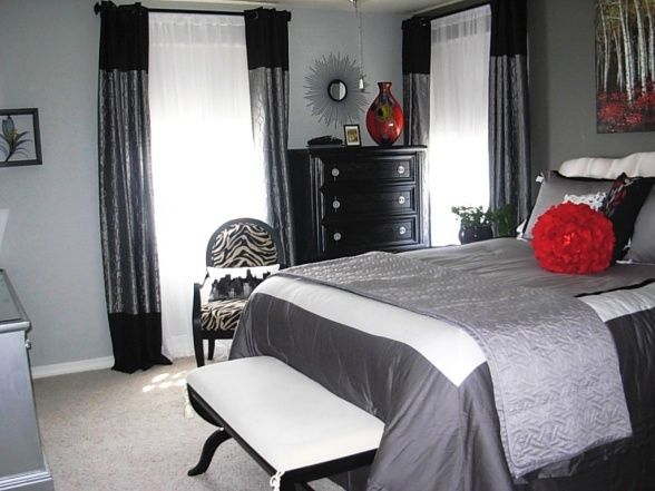 blackgrayred bedroom with zebra