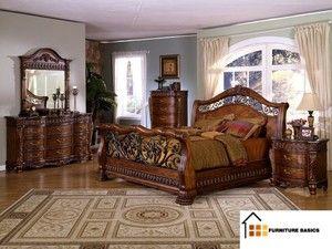 King bedroom set marble tops impressive sleigh bed furniture queen ...