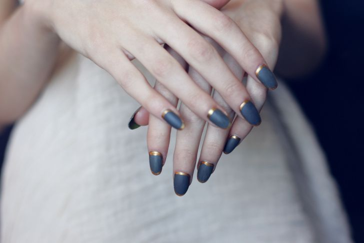 gold and blueMatte Nails, Nails Art, Gold Nails, French Manicures, Nails Colors, Nails Design, Nails Polish, Something Blue, Blue Nails