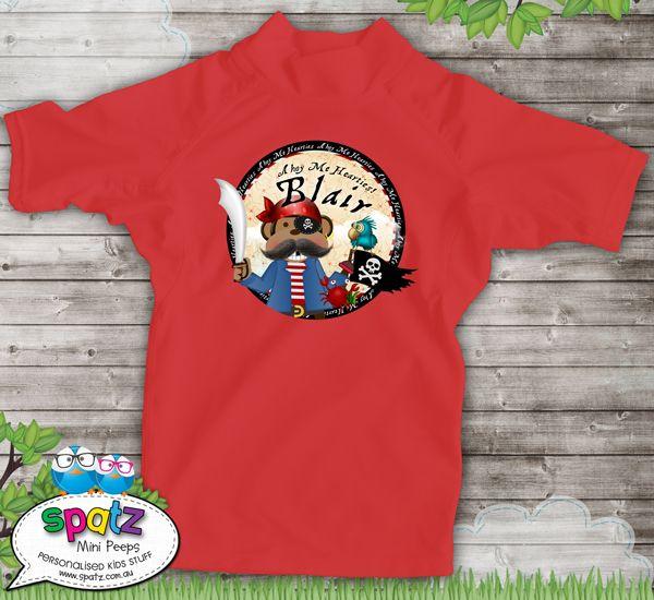 Monkey Pirates Ahoy - Personalised Kids Rashie Sun Shirt