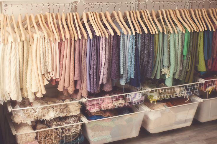Baskets for Hats, layers, wraps and Backdrops on hangers