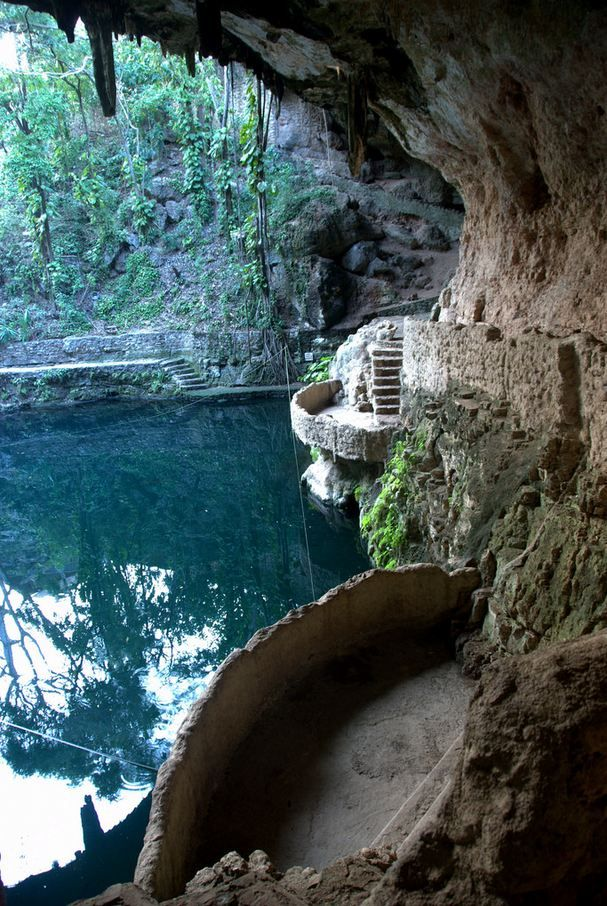 Cenote Zaci, a freshwater lake in a landscaped cave ...