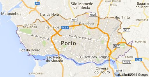 Map of Oporto, Portugal
