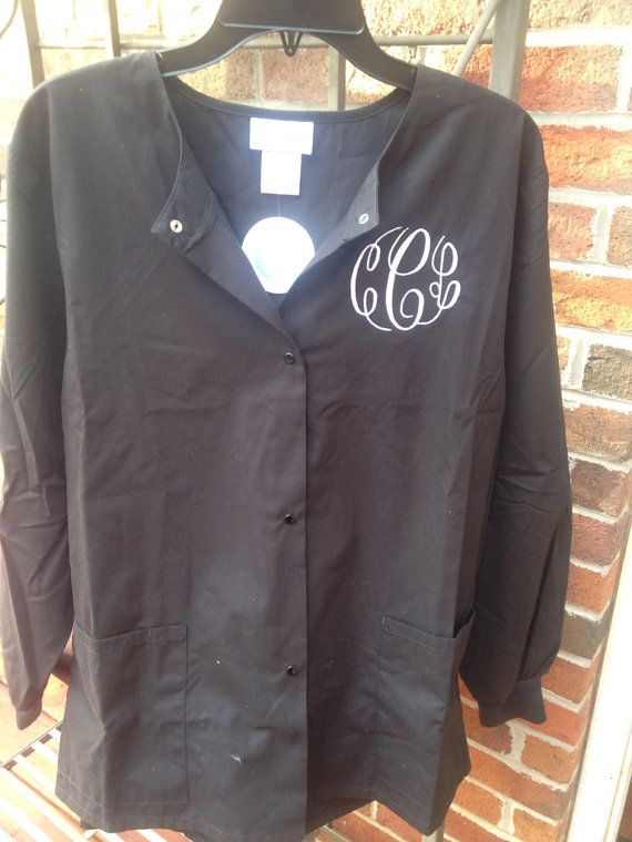 Monogrammed Scrub Jacket. snap front by dicorembroidery on Etsy, $35.00