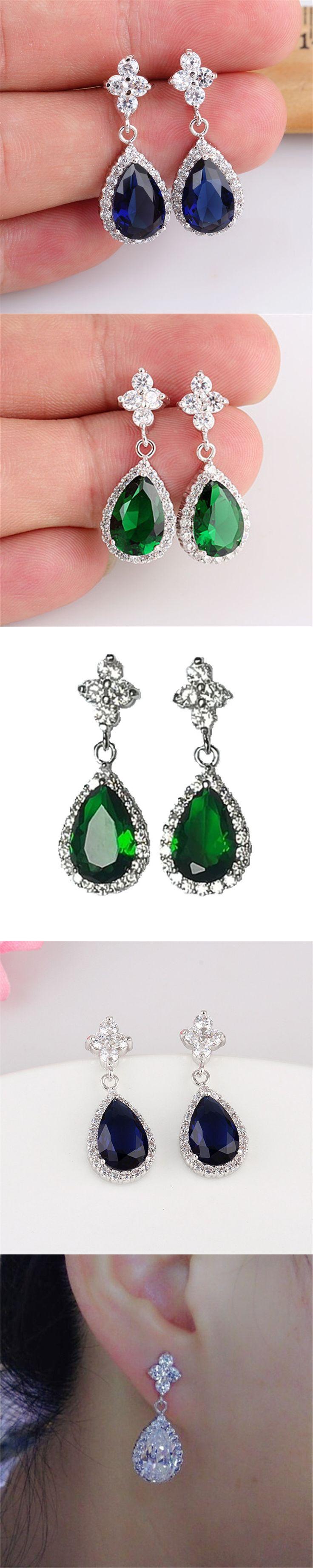 RONGQING Copper Zircon Earrings Nickel Free 925 Silver Soft Stud Droplets Zircon Earring for Women Wedding Jewelry