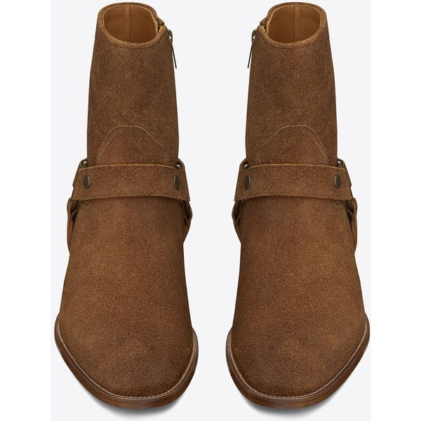 Saint Laurent Classic Wyatt 40 Harness Boot (25,105 MXN) ❤ liked on Polyvore featuring men's fashion, men's shoes, men's boots, boots, menswear, shoes - boots, mens zip boots, yves saint laurent mens shoes, mens harness boots and mens zipper boots