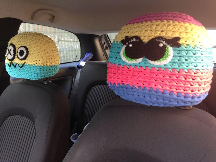 Crochet car accessories. Poggiatesta uncinetto!
