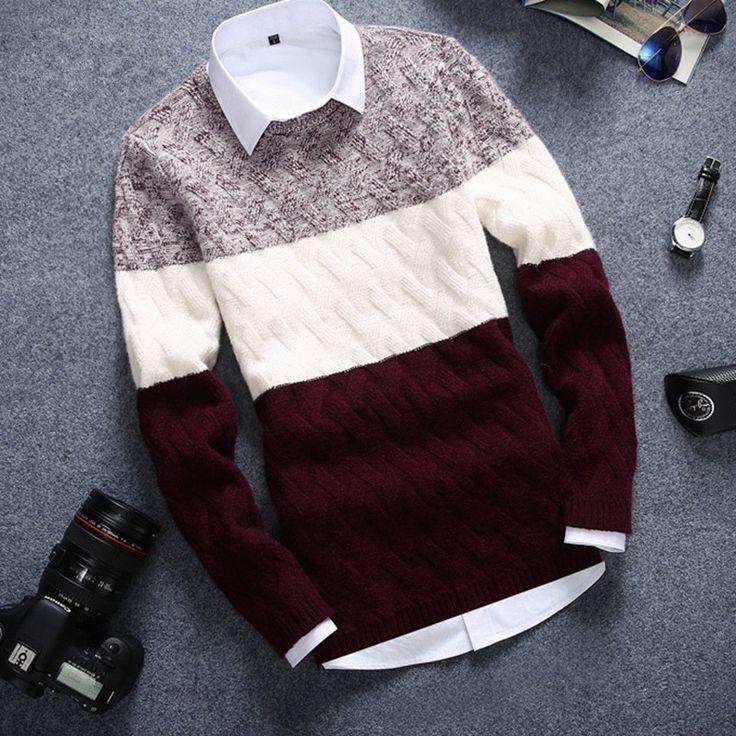 Nuevo de alta calidad ocasional de los hombres suéter de cuello redondo suéter suéter de la raya Casual jumper Flojo Delgado Suéter de Invierno Que Hace Punto Caliente en Pullovers de Ropa y Accesorios en AliExpress.com | Alibaba Group