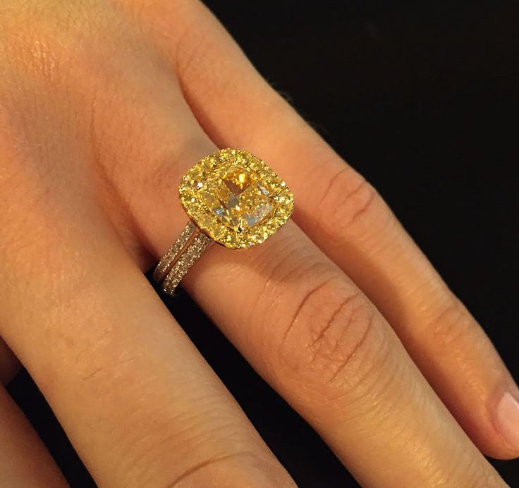gia certified 10 carat cushion cut fancy yellow diamond engagement ring 18k wg - Yellow Diamond Wedding Rings
