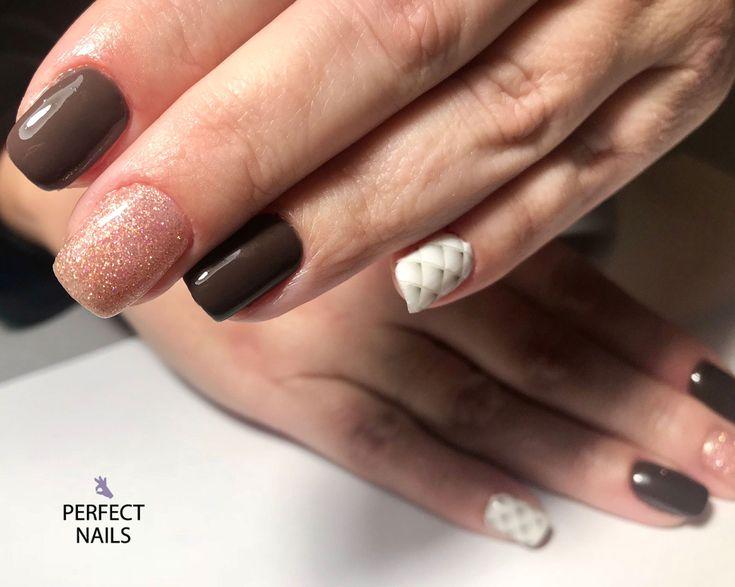 brown nails- glitter rose gold-perfectnailsgreece