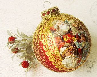 Santa Claus Christmas ornament, glass ball, bauble, Victorian, hand painted, wire wrapped, red gold
