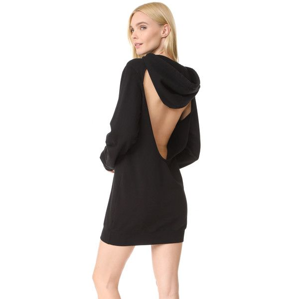 Cotton Citizen The Milan Backless Hoodie Mini Dress ($290) ❤ liked on Polyvore featuring dresses, jet black, long-sleeve mini dress, short backless dresses, longsleeve dress, short mini dress and sexy backless dresses