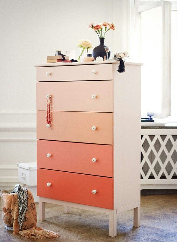 ikea drawer chest painted ombre