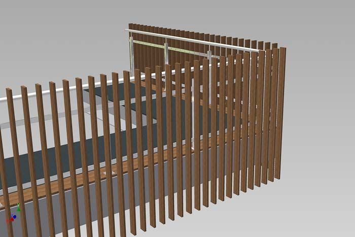 Vertical timber battens on stainless steel frame and stanchions Balustrade design