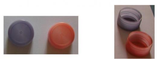 Emballage intelligent  Bouchons thermoplastiques passant irréversiblement du bleu au rouge lorsqu'ils sont chauffés au-dessus de 60°C. La production de ces bouchons a été rendue compatible avec un procédé d'élaboration du bouchon par injection à 260°C.