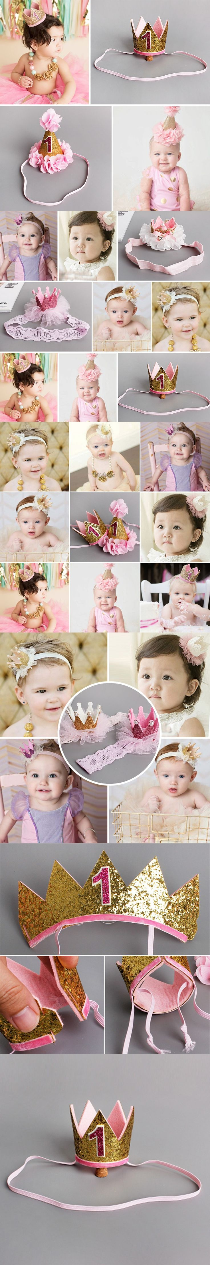 Handmade Infant Newborn Mini Felt Glitter Crown Flower Headband For Baby Girls 1st Birthday Party DIY Garments Hair Accessories