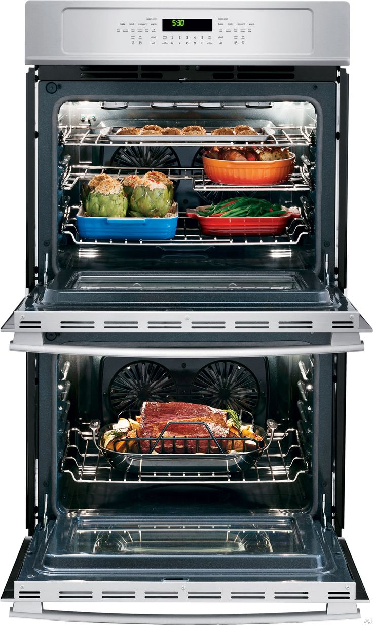 frigidaire double electric wall oven with cu dual convection ovens steam cleaning powerplus preheat delay start auto shutoff and temperature probe