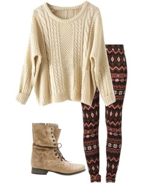 Fall outfit love the big loose sweater. #comfy