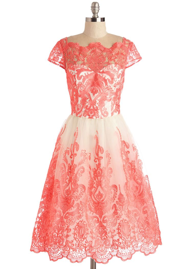 Exquisite Elegance Dress by Chi Chi London - Long, Tulle, Coral, White, Embroidery, Lace, Special Occasion, Prom, Valentine's, Homecoming, Fit & Flare, Cap Sleeves, Bridesmaid, Vintage Inspired, 50s, 60s