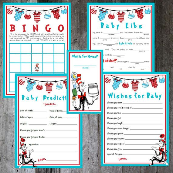 Dr. Seuss Baby Shower Game Bundle DIY by PencilMouthDesigns