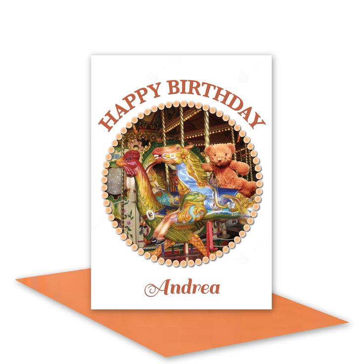 Personalised name Happy Birthday card for boy or girl merry-go-round horse teddy bear /blank or greeting or edit message/ envelope choices (4.95 AUD) by stuARTconcepts