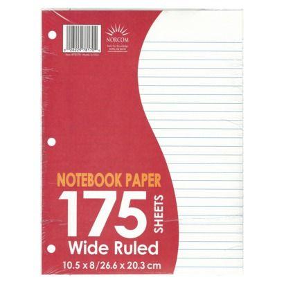 5TH GRADE SCHOOL SUPPLIES   [Need 1 Package Filler Paper]   NORCOM 175Ct Filler Paper Wide Rule