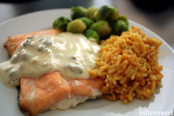 One of my favorites:  Baked Salmon with Creamy Lemon Sauce (from the South Beach Diet) - but substitute the sour cream for non fat plain Greek Yogurt!