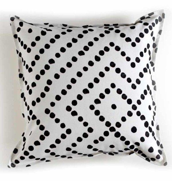 Black and white dotty cushion