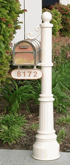 Newport Mailbox Post & Westchester Brass Mailbox with Locking Insert Option