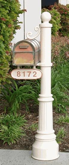 Newport Mailbox Post & Westchester Brass Mailbox with Locking Insert Option