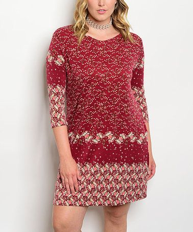 This Burgundy Floral Bodycon Dress - Plus is perfect! #zulilyfinds