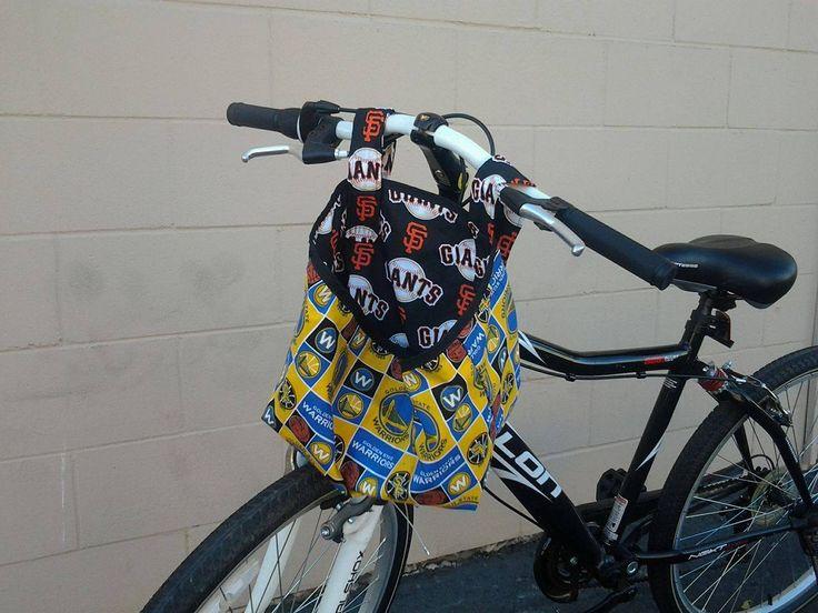 Custom Handmade Bike Basket. MLB, SF Giants & NBA, Warriors. Washable, Removable Velcro Straps. Bicycle Bin by MissAmandaMadeIt4Me on Etsy #etsy #handmade #forsale #sports #fan #basket #bin #storage #SFGIANTS #GSWARRIORS #basketball #baseball #Large #removable #washable #velcrostraps #custom